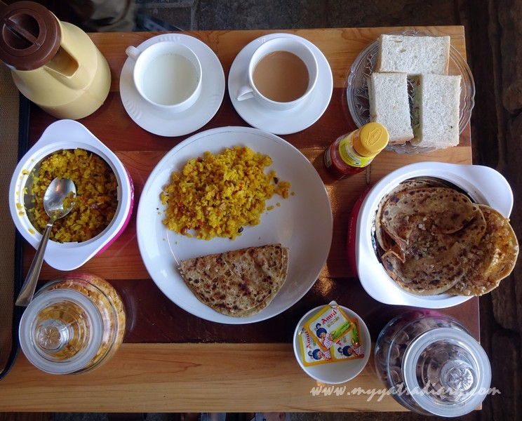 Appetizing breakfast at The Himalayan Bungalow Boutique homestay Almora