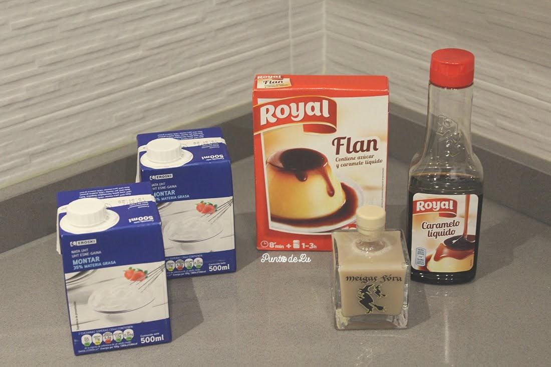 Receta para hacer flan de crema de orujo - Ingredientes