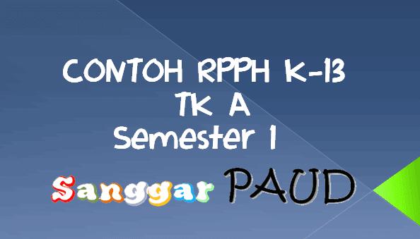 Contoh RPPH PAUD Kelompok A Minggu ke 5 Semester 1 Tema Lingkunganku