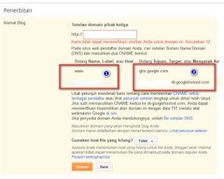 Pengaturan CNAME domain id di Setelan Blogger