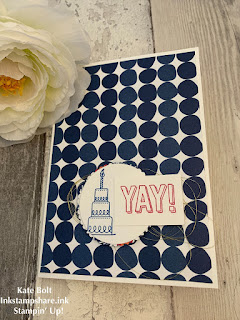 Handmade birthday card using the Amazing Life stamp set and the Happiness Blooms papers. Blue and red.