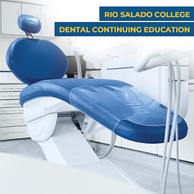 "Graphic shows a dental chair inside of a dental office with the words ""Rio Salado College Dental Continuing education"" on the graphic"