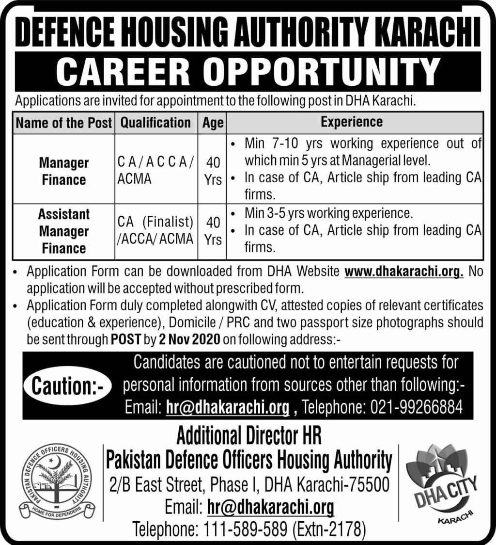 Defence Housing Authority DHA Karachi Jobs 2020 | Allsindhjobz