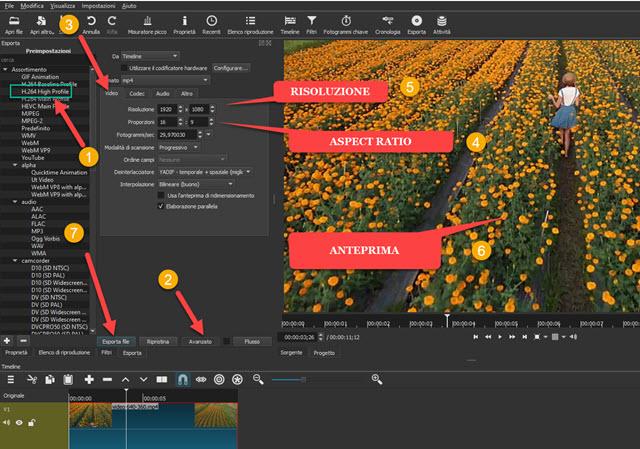 impostare i parametri di uscita del file video in shotcut