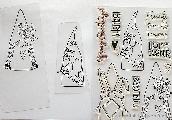 Layers of ink - Magical Gnome Forest Tutorial by Anna-Karin Evaldsson. Stamp on shrink plastic.