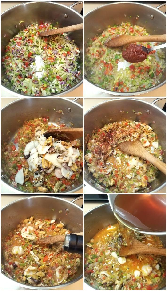 Cómo hacer el asopado de mariscos, primera parte, collage de 6 fotos