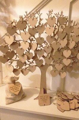 árvore de corações com assinaturas dos convidados