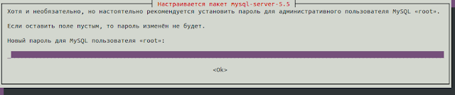 вводим пароль для пользователя root