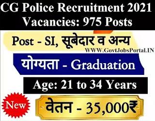 CG Police vacancy 2021