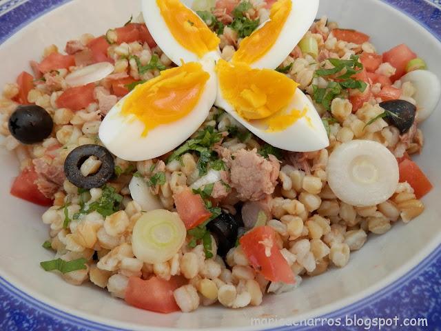 receta peruana de la ensalada de trigo cocinado