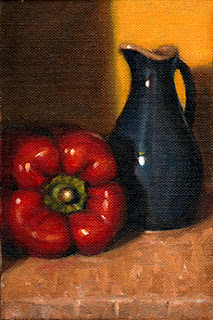 Oil painting of a red pepper on its side next to a blue porcelain sauce jug.
