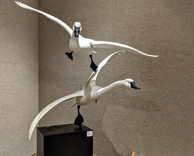 Flying geese sculpture made of wood