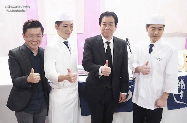 Xavier Mah (X-Man Of X-Group), Chef Shogo Sasaki (Owner-Chef Of IZUU), Mr Ken Fukutake (GM of Media Content Planning Dept, Dai Nippon Printing Co) & Chef Takeshi Matsuo (Head Chef of  IZUU)