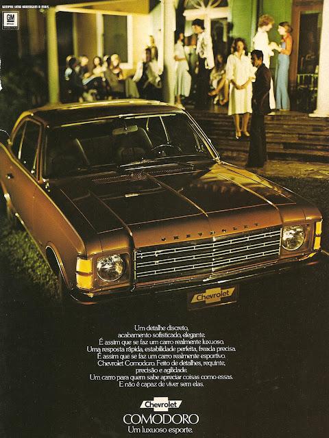 Propaganda do Chevrolet Comodoro com todo o seu requinte dos anos 70.