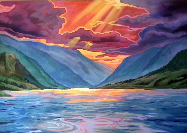 columbia river gorge painting, hood river art, hood river painting, oregon painting, gorge washington, columbia river