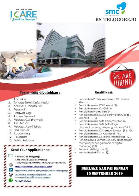 Informasi lowongan kerja terbaru bulan September  Lowongan Kerja Rumah Sakit Telogorejo Semarang September 2019
