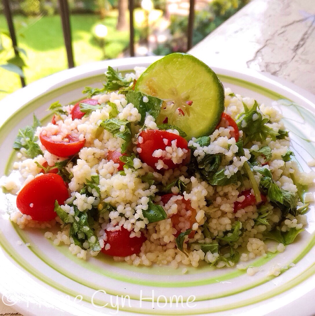 All you need for this one is some soaked couscous semolina, cherry tomatoes, mint, basil and a little seasoning.