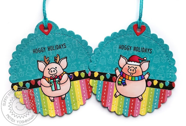 Sunny Studio Stamps: Hoggy Holidays Pig Themed Christmas Gift Tags (using Hogs & Kisses Stamps, Stitched Scalloped Circle Tag dies & Very Merry 6x6 Paper)
