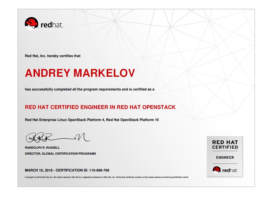 Andrey\'s Blog: Red Hat Certified Engineer in Red Hat OpenStack 10