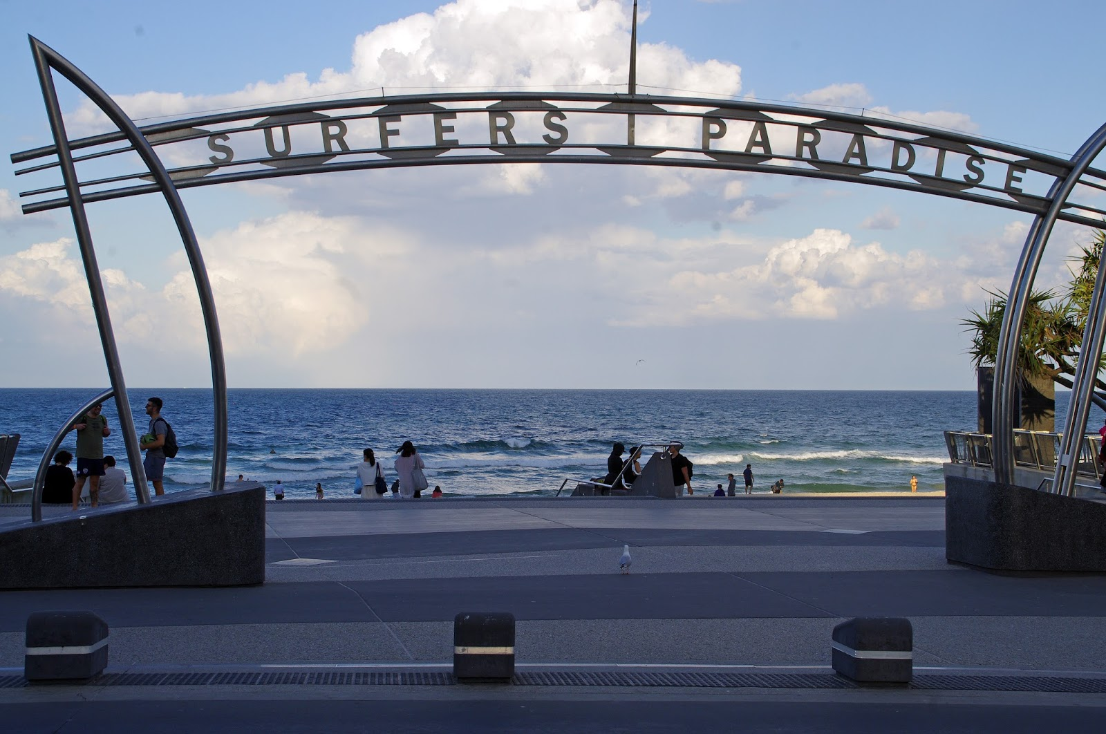 picture of the sea through the surfers paradise sign
