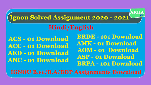 ignou solved assignment 2020 - 2021