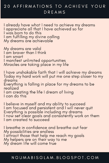 20 Affirmations To Achieve Your Dreams