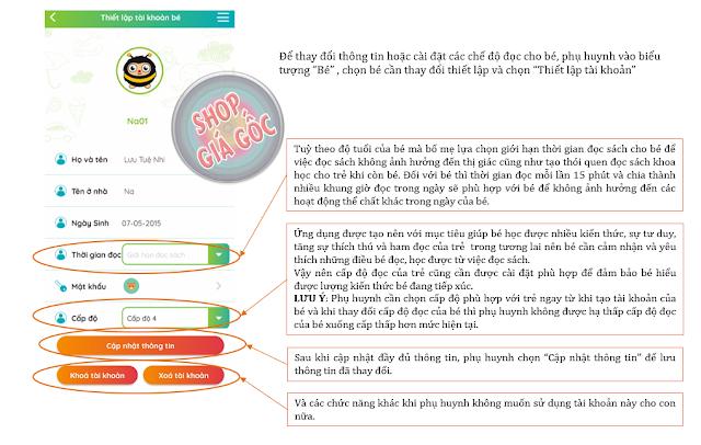 Hướng dẫn thiết lập tài khoản của bé trong ứng dụng umbalena