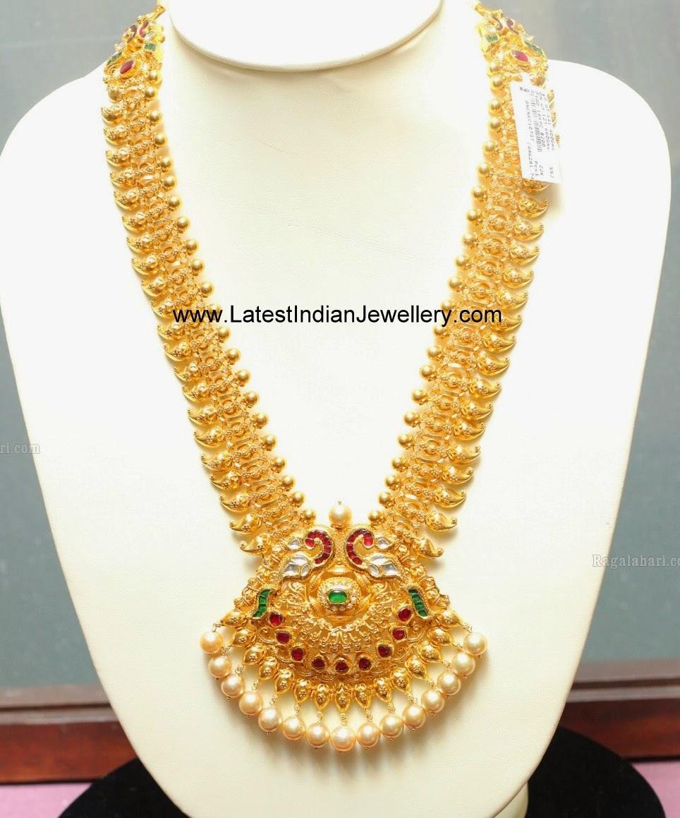 Peacock Pendant Long Mango Haram Latest Indian Jewellery