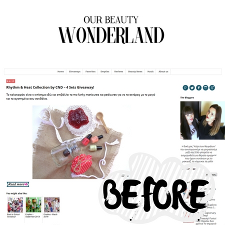 Νέα σχεδίαση blog: Our Beauty Wonderland