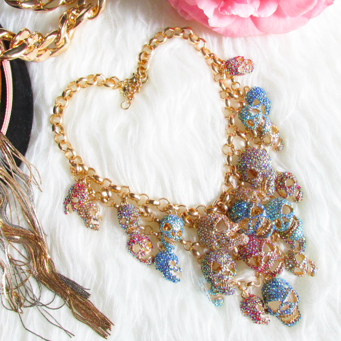 Review: Jane Stone - Luxurious Skeleton Statement Necklace - Colourful - $52.00