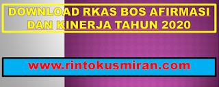 DOWNLOAD RKAS BOS AFIRMASI DAN KINERJA TAHUN 2020