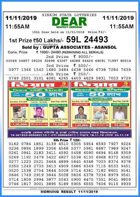 Lottery sambad 11-11-2019 Sikkim State Lottery Result 11.55 AM-sambadlottery.org