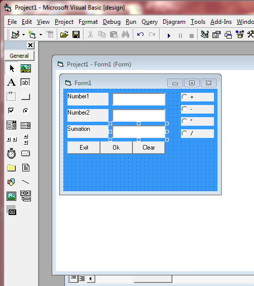 Tutorial VB: Option Button Program code vb 6 0 (Visual Basic