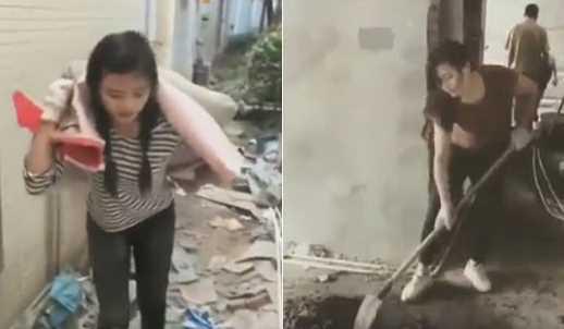 Viral! Gadis Cantik Ini Rela Kerja Jadi Kuli Bangunan