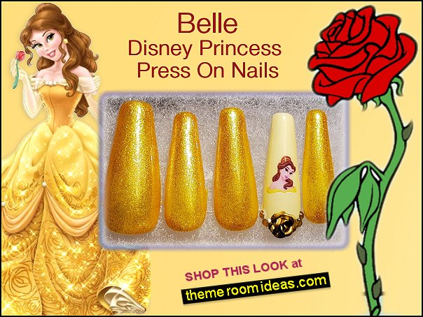 belle nails Disney Princess Press On Nails  beauty and the beast themed nails
