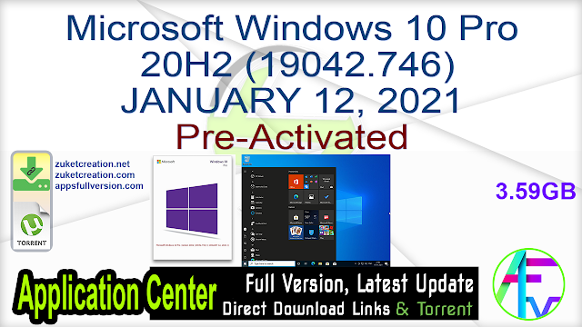 Microsoft Windows 10 Pro 20H2 (19042.746) JANUARY 12, 2021 Pre-Activated