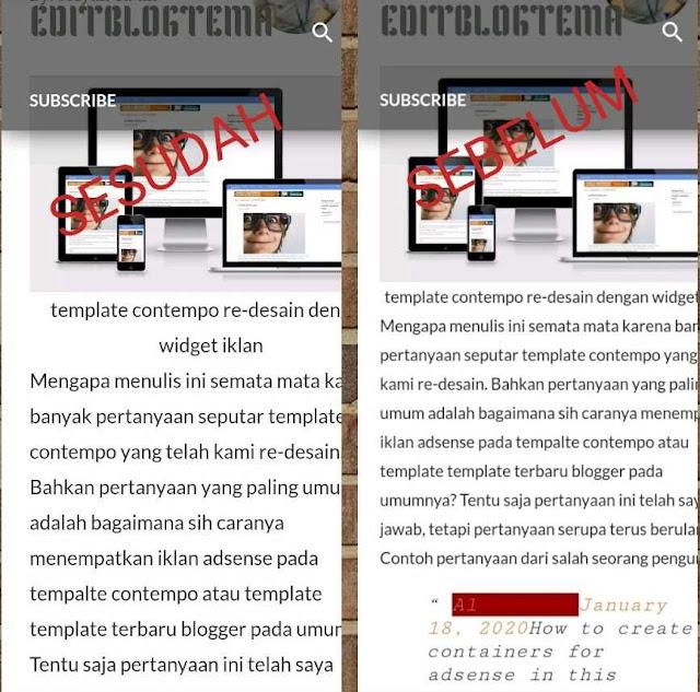 perbandingan sesudah dengan sebelum di modifikasi HTML