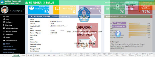Aplikasi Rapor KK 13 Sekolah Dasar Semester Dua Kelas 4 Excel