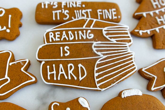 "The Catholic Guy Show Gingerbread Cookies, ""Reading is Hard"""