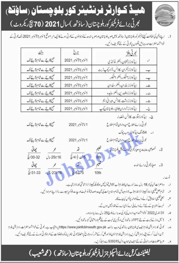 https://www.jobfcblnsouth.gov.pk - FC Frontier Corps South Batch No 70 Jobs 2021 in Pakistan