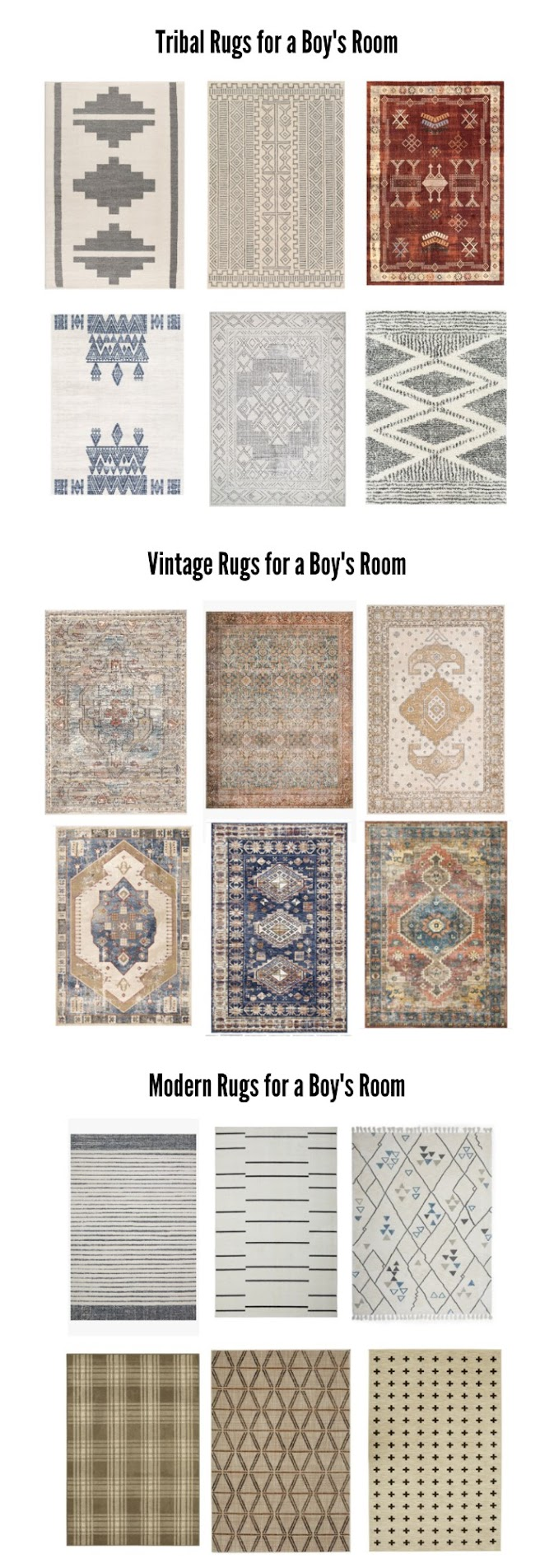 A BIG round up of tribal, vintage, and modern rug for a boy space