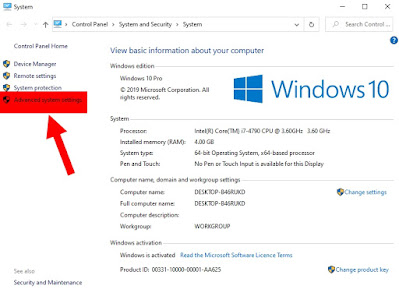 Advanced system settings in Windows 10