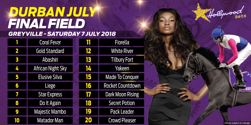 Vodacom Durban July 2018 Final Field - Hollywoodbets