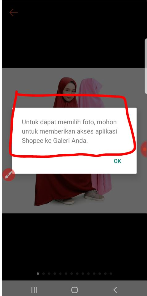 Pengaturan akses aplikasi Shopee