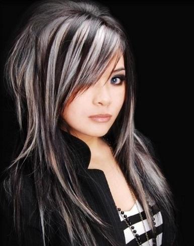 Black Hair And Platinum Blonde Highlights 2014 Hair
