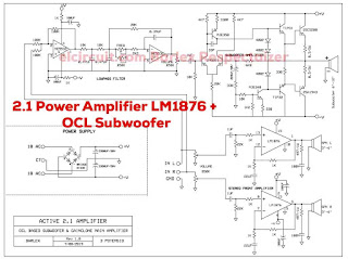 Circuit Diagram  2.1 Audio Amplifier using LM1876 + 2sc2922 2sa1216 OCL Subwoofer