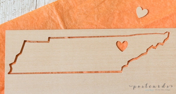 shape of Tennessee cut from balsa wood with cricut maker