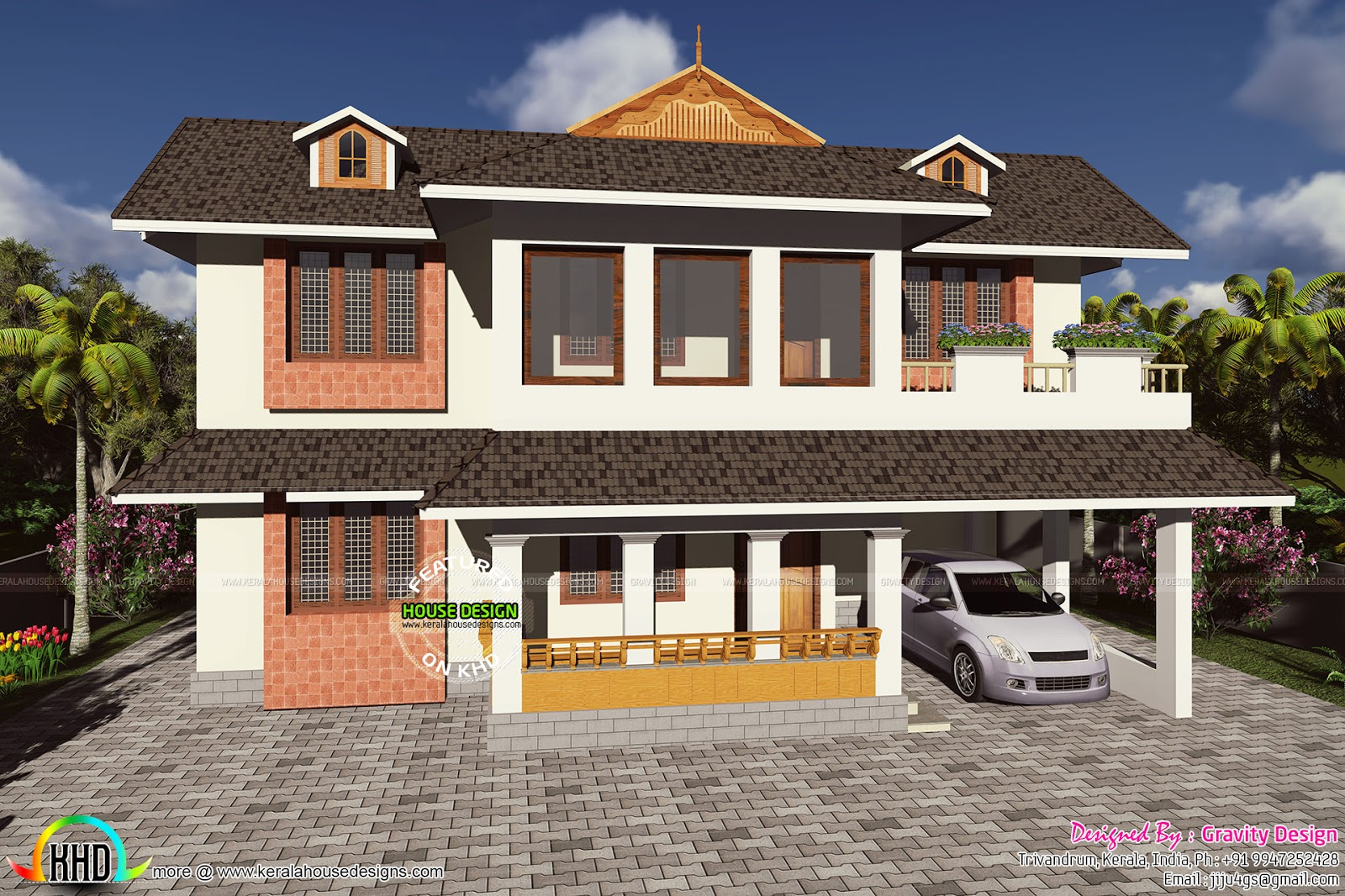 Front Elevation Metal Roof : Mixed type gabled roof home kerala design and floor