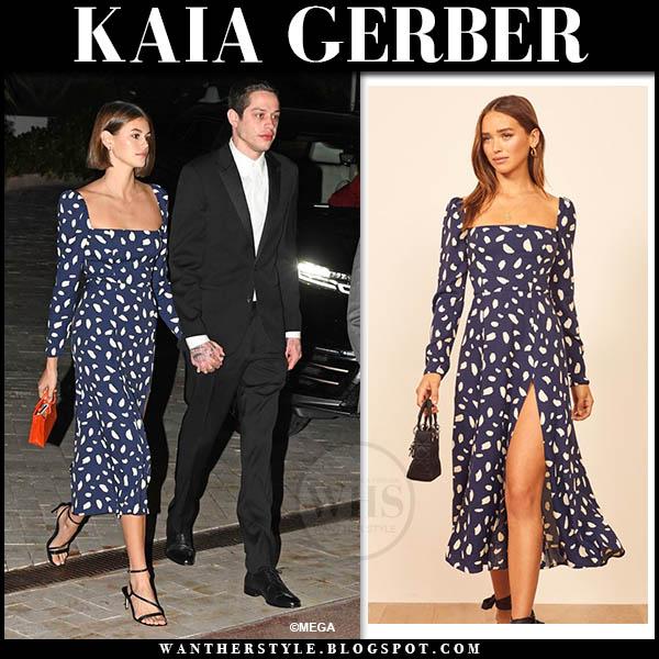 Kaia Gerber In Blue Printed Midi Dress And Black Sandals