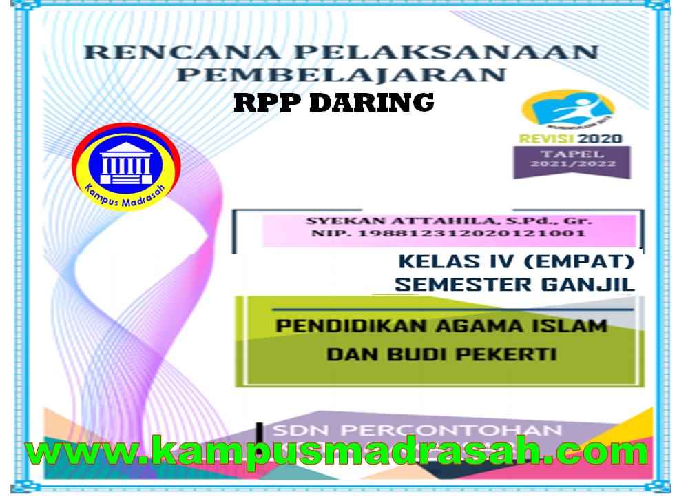 RPP Daring 1 Lembar Mapel PAI dan BP Kelas 4